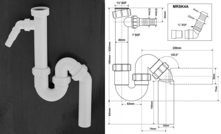 Трубный сифон для раковины McAlpine (Великобритания) с отводом для бытовой техники, 40 мм (MRSK6). Модель MRSK4A комплектуется угловым отводом