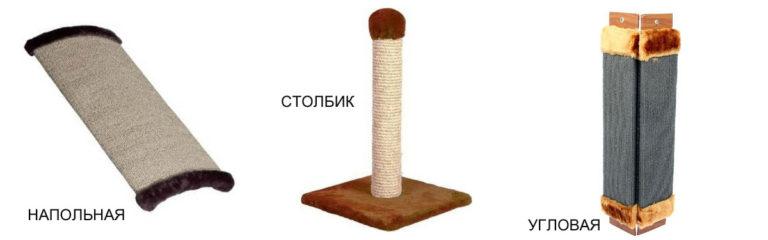 Виды когтеточек: напольная, столбик, угловая