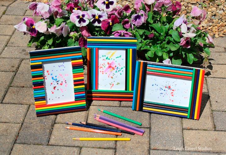 Рамки из карандашей можно использовать не только для фотографий, но и для детских рисунков