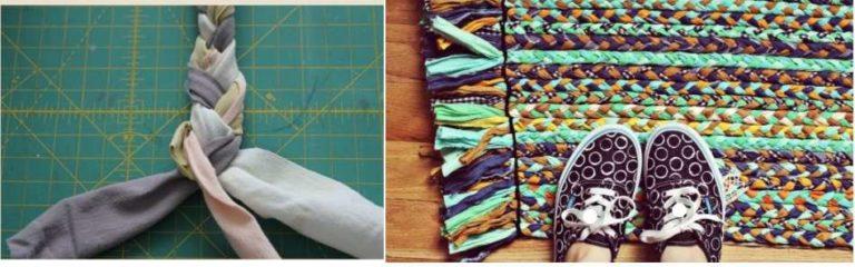 Как сделать прямоугольный коврик из старых вещей: сплести косички и сшить их