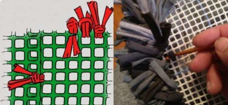 коврик из кусочков ткани : привязываем на основу