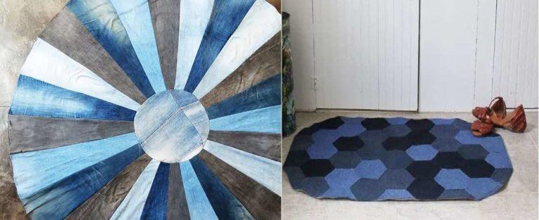 Из старых джинсов можно сшить коврик на балкон, кухню, в коридор