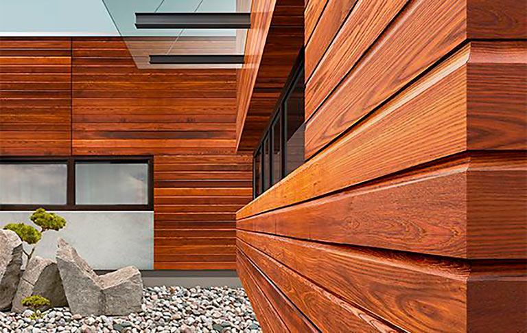Фасад из имитации бруса термоясень