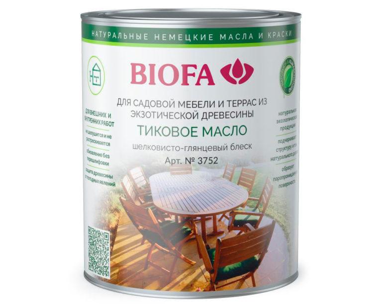 Тиковое масло BIOFA для защиты термодоски от УФ (арт. 3752)