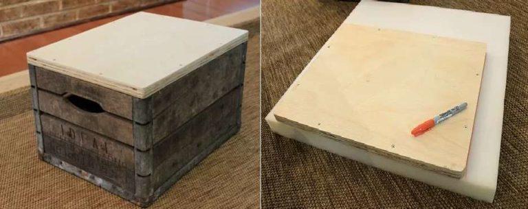 Пуф своими руками из деревянного ящика и куска ткани