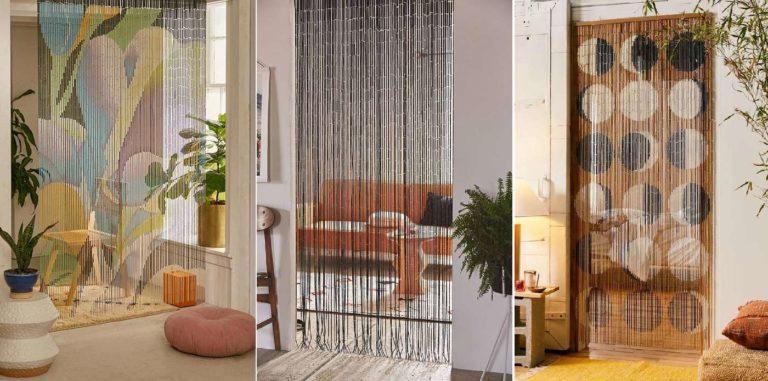Бамбуковые декоративные межкомнатные шторы с рисунком