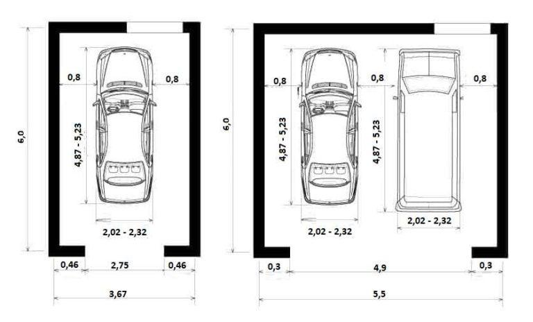 Минимальная ширина гаража для двух машин - 5,5 м, ширина проема гаражных ворот - 4,9 м