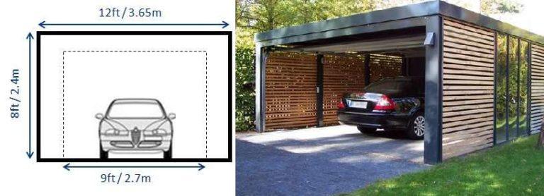 При ширине гаража 3,65 метра - ширина гаражного проема около 2,7 метра