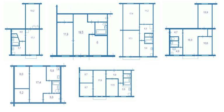 Хрущевка комнатная планировка: 2 комнатные и 3 комнатные квартиры